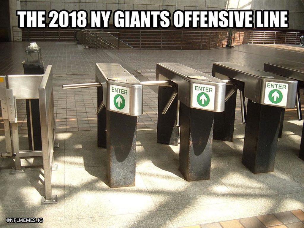 La linea offensiva dei Giants come i tornelli dello stadio di New York